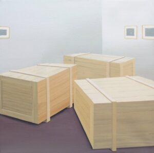 """GloriaMartín. """"Crated"""". 2011. Acrílico sobre lienzo. 40x40cm."""