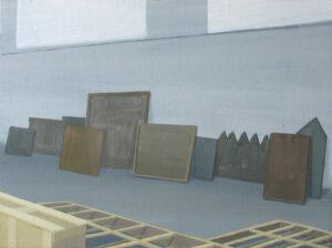 """De la serie """"El Traslado de la Imagen"""" (almacén), 2014. Óleo y acrílico sobre lienzo. 41×33cm"""