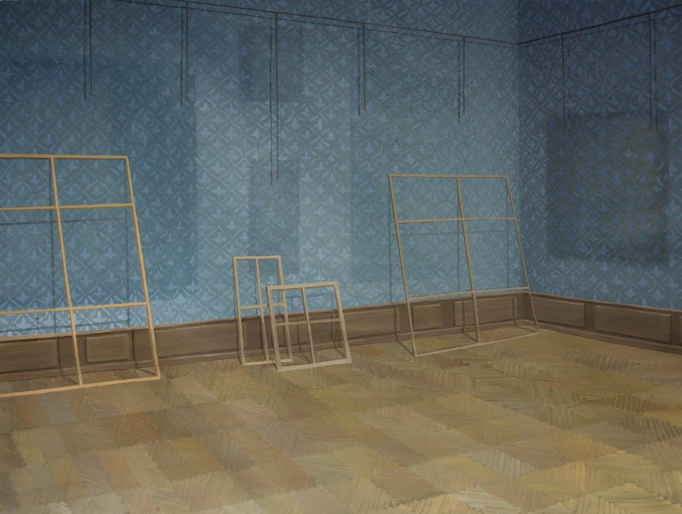 """GloriaMartín. """"Louvre II"""", 2014. Óleo sobre lienzo.146×114cm"""