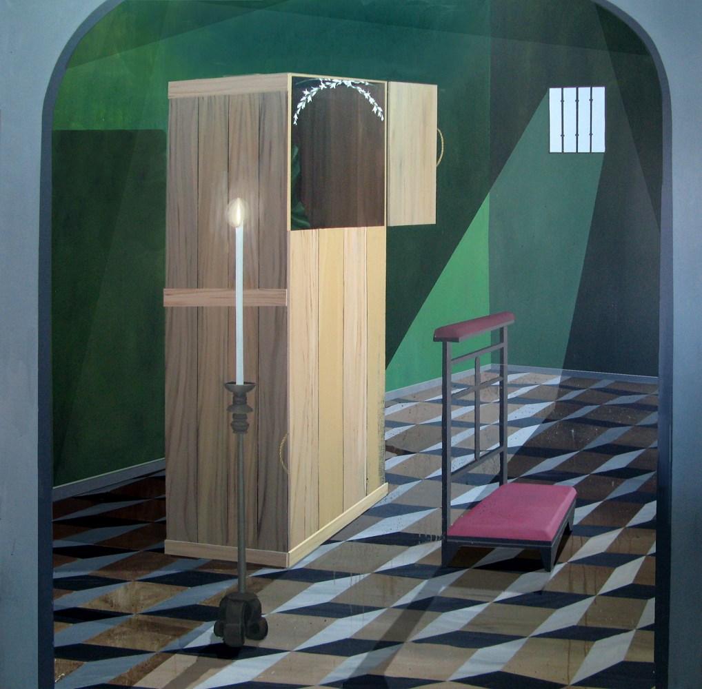 """GloriaMartín. """"El Traslado de la Imagen"""". 2013. Acrílico sobre lienzo. 195x195cm."""