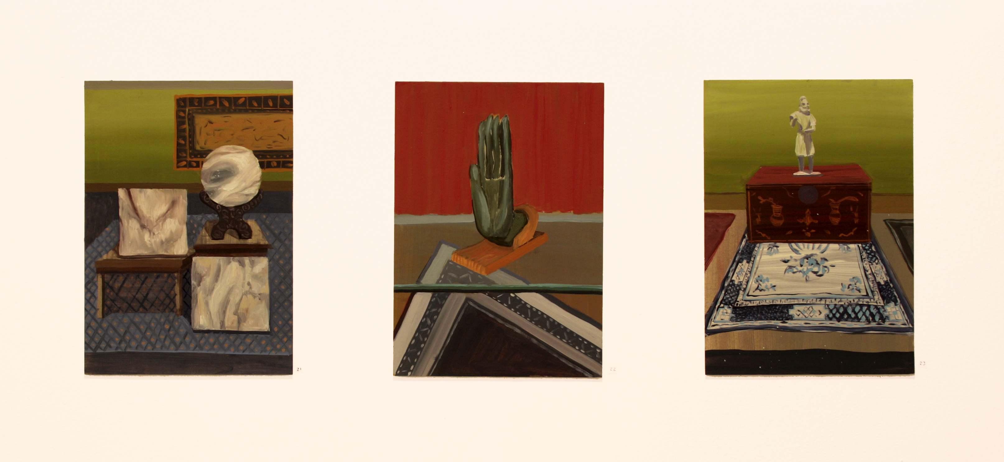 """Gloria Martín. """"Antiquaires BXL"""". 2015. Óleo sobre papel. 29x21cm"""