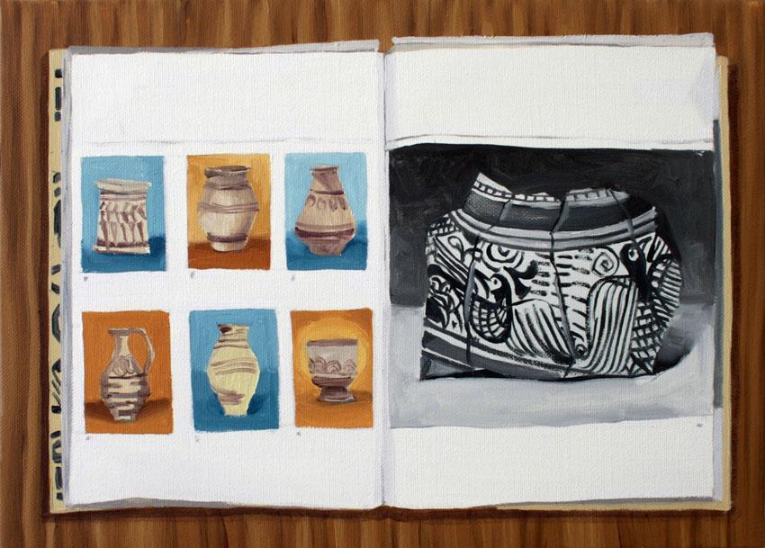 """Gloria Martin. """"Ceramica Pintada"""" (Libro) 2016. Óleo sobre lienzo. 33x50cm."""