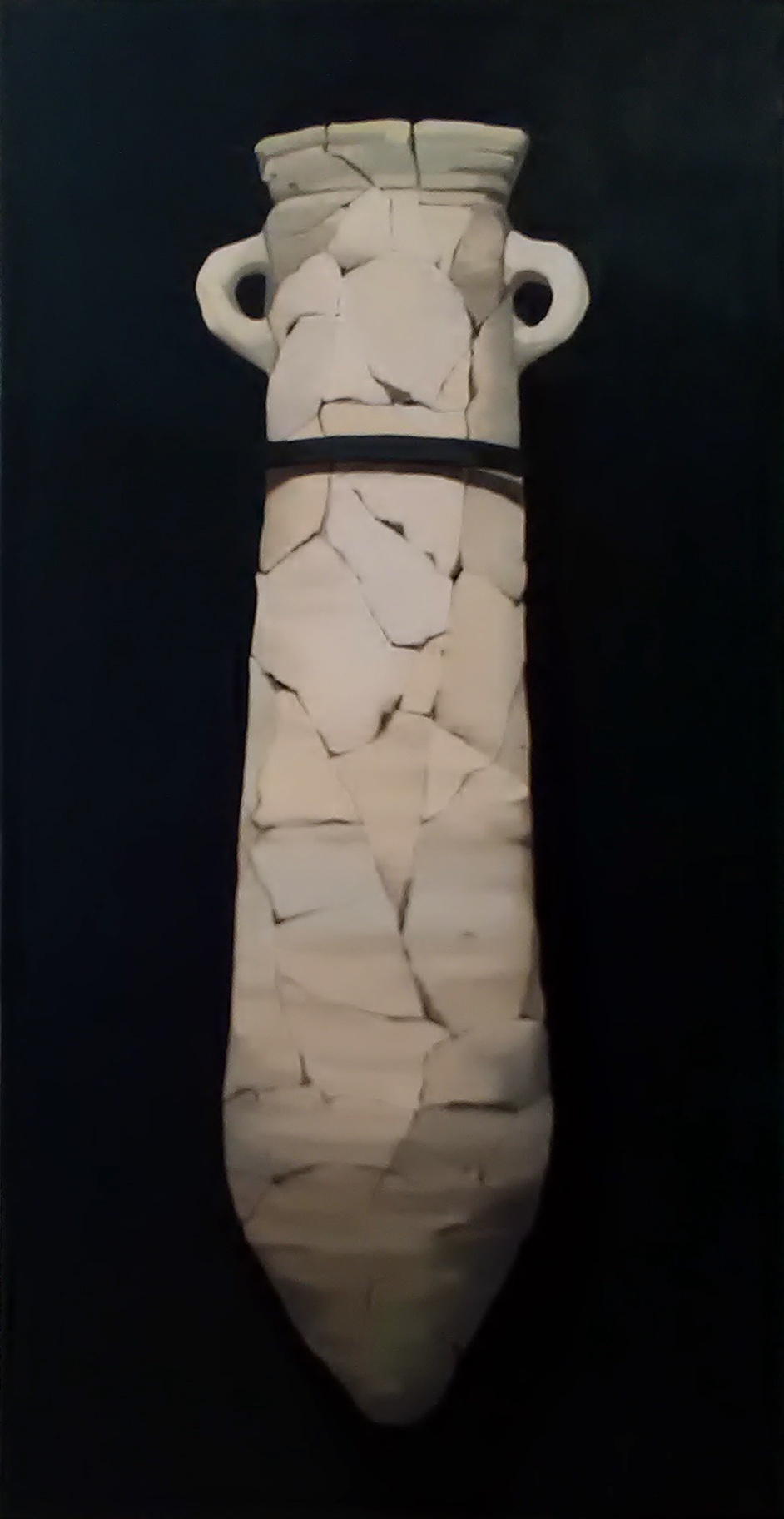 "Gloria Martín ""Cerámica Pintada"" (Ánfora Larga) 2016. Óleo sobre lienzo. 130x65cm."
