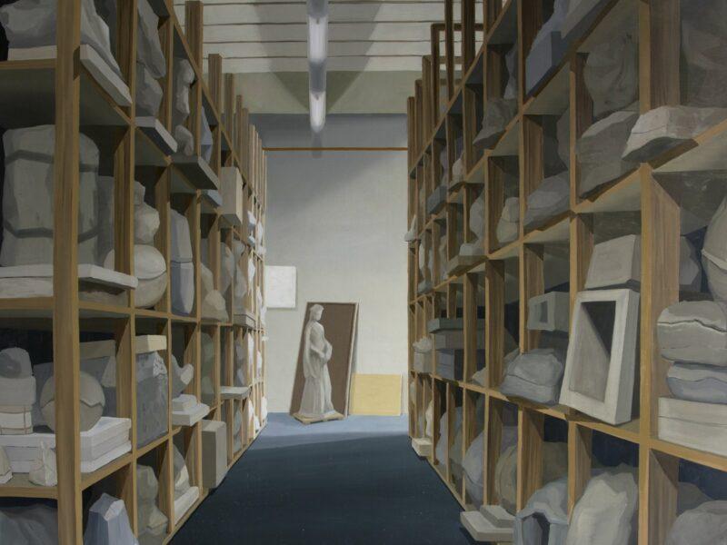 """""""Atelier de moulage"""" 2014. Óleo sobre lienzo. 162x195cm"""