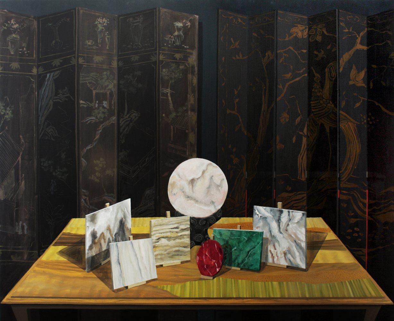 "Gloria Martin. ""Bodegón de Mármoles"", 2017 Óleo sobre lienzo 162x195cm"
