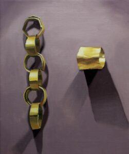 "Gloria Martin. ""Cadena"", 2017 Óleo sobre lienzo 46x38 cm"