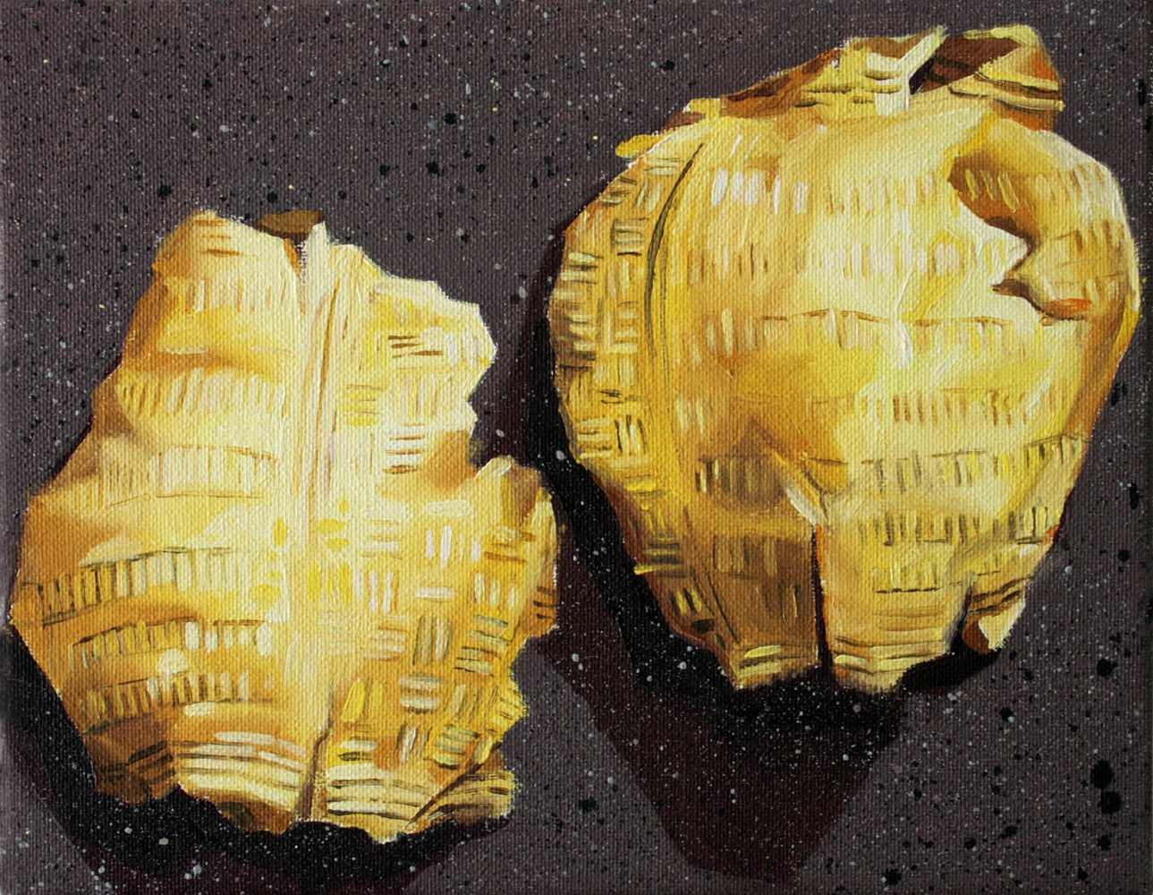 """Gloria Martín. """"Oro"""", 2017 Óleo sobre lienzo 19x24cm"""