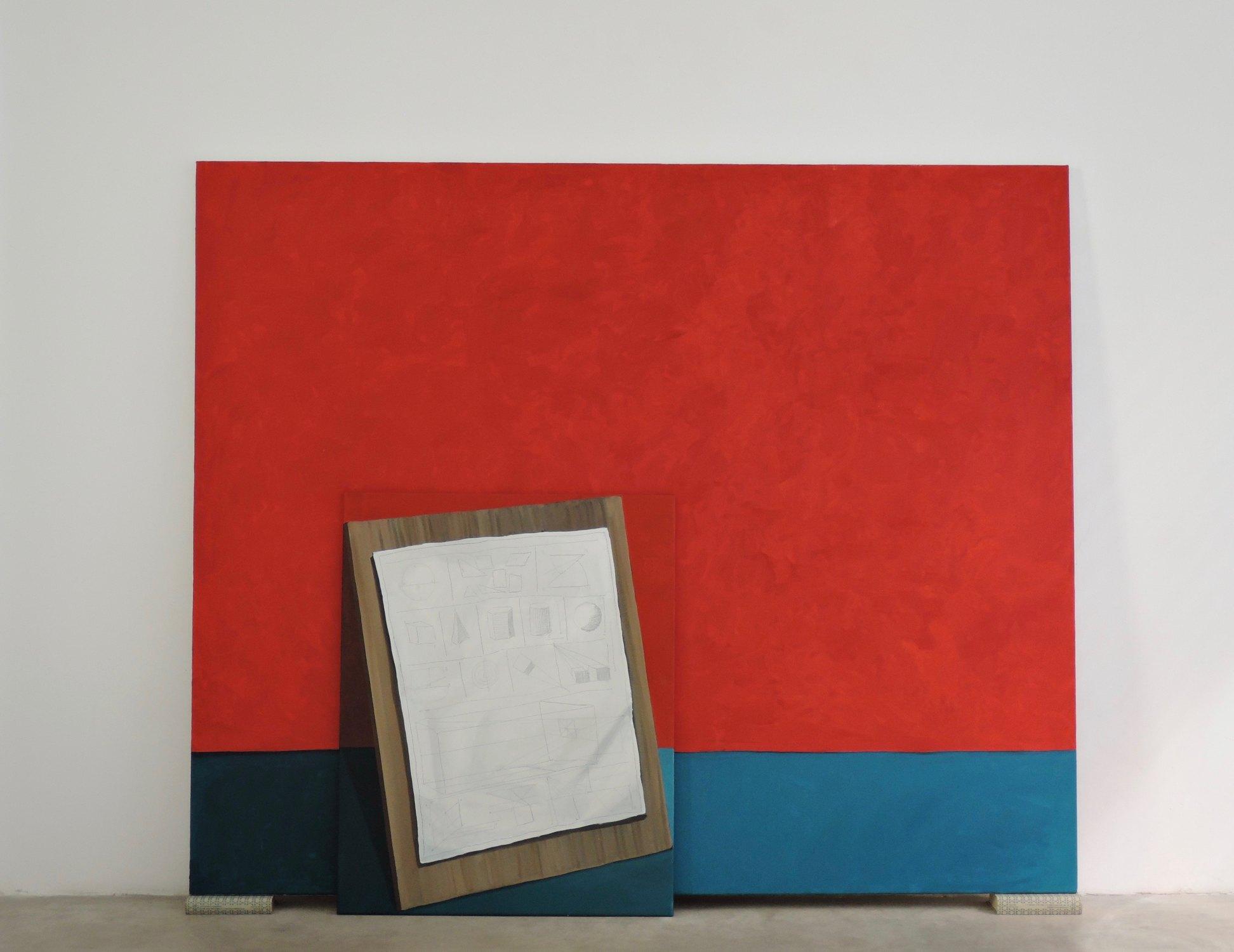 """GloriaMartin. """"Tratado"""" 2018-19. Óleo sobre lienzo y Tratado Teoría y Práctica de la Pintura"""" de Antonio Palomino. 162x195cm."""