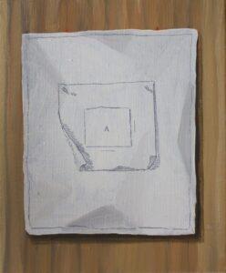 """GloriaMartin. """"Modelo y Modo"""" (Serie tratados) I Óleo sobre lienzo. 2018. 27x22cm."""