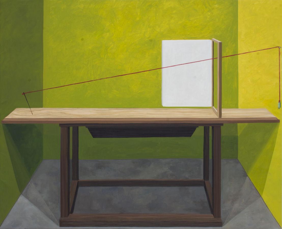 "GloriaMartin. ""Maquina de Dibujar (Durero) 2019. Óleo sobre lienzo. 162x195cm."