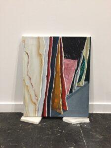 "GloriaMartin. ""Almacén de mármoles"" 2018. Óleo sobre lienzo. 46x38cm"