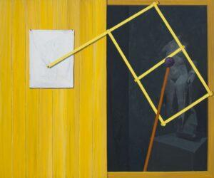 "GloriaMartín. ""Pantógrafo"" 2019 Oleo sobre lienzo 162x95cm."